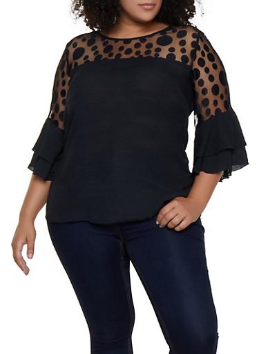 Plus Size Polka Dot Mesh Yoke Top,BLACK,large