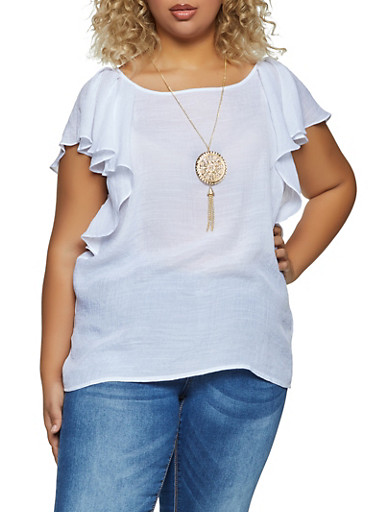 Plus Size Ruffled Crepe Knit Top with Necklace,WHITE,large