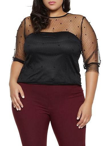 Plus Size Faux Pearl Decorative Stitch Mesh Top,BLACK,large