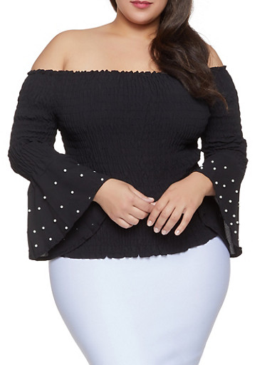 Plus Size Faux Pearl Smocked Off the Shoulder Top,BLACK,large