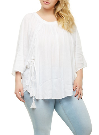 Plus Size Lace Up Dolman Sleeve Top,WHITE,large