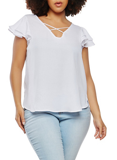 Plus Size Crepe Knit Flutter Sleeve Top,WHITE,large