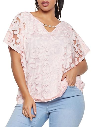Plus Size Printed Mesh Overlay Top,BLUSH,large