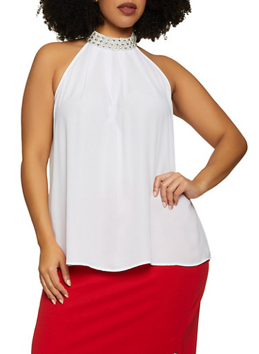 Plus Size Faux Pearl Rhinestone Mock Neck Blouse,IVORY,large