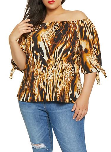 Plus Size Leopard Print Off the Shoulder Top,MOCHA,large
