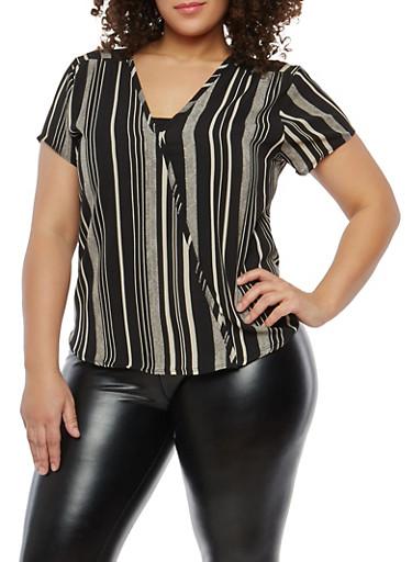 Plus Size Striped Pattern Top,BLACK,large