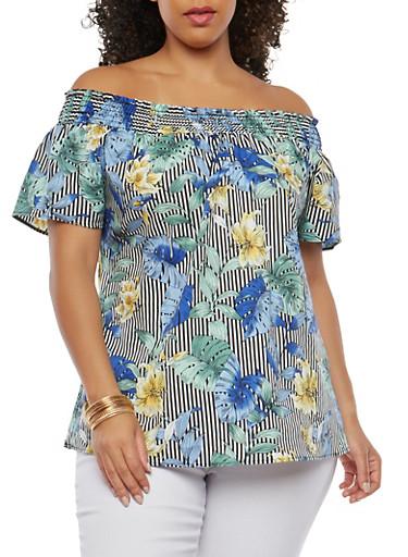 Plus Size Striped Floral Off the Shoulder Top,BLACK/BLUE,large