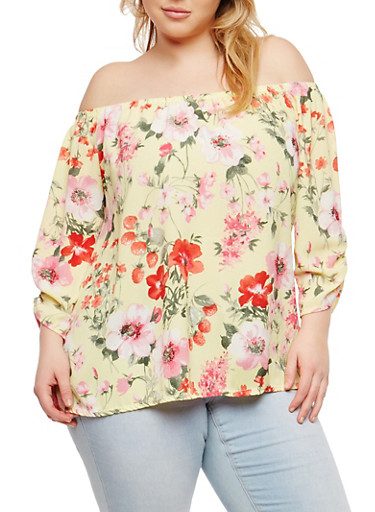 Plus Size Ruched Sleeve Off the Shoulder Top,LIGHT YELLOW,large