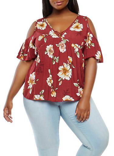 Plus Size Floral Cold Shoulder Top,RED,large