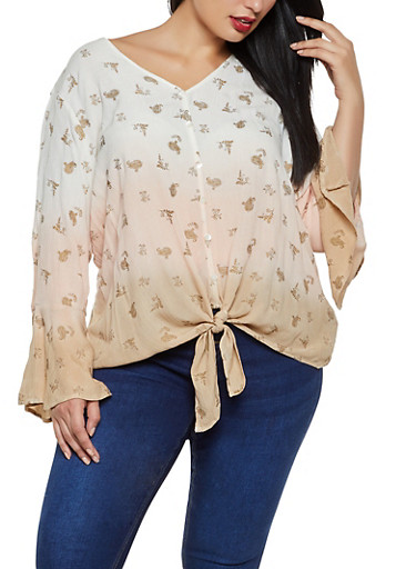 Plus Size Dip Dye Tie Front Shirt,BLUSH,large