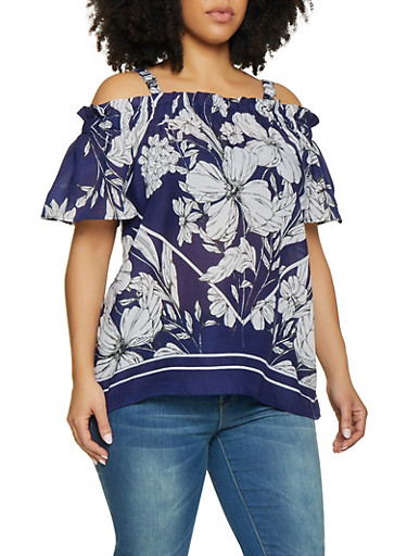 Plus Size Floral Off The Shoulder Gauze Knit Top by Rainbow