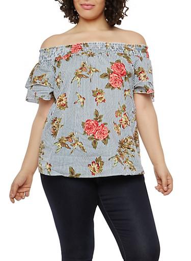 Plus Size Striped Floral Off the Shoulder Top,NAVY,large