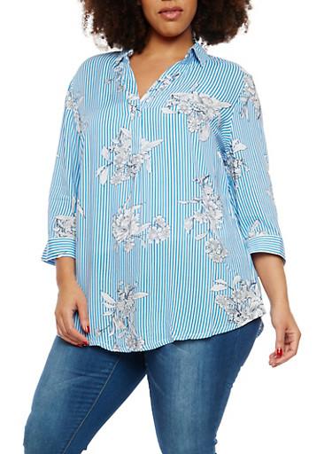 Plus Size Floral Stripe Top,BLUE,large