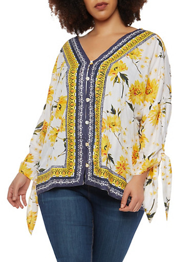 Plus Size Floral Border Print Dolman Sleeve Top,YELLOW,large