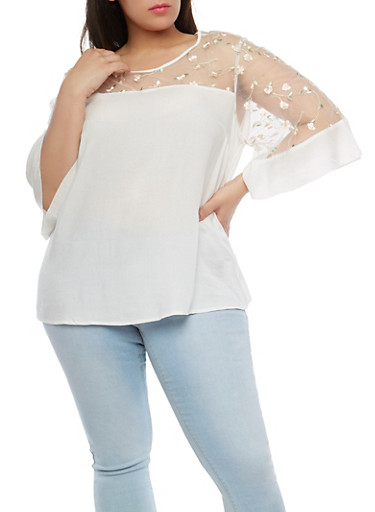 Plus Size Embroidered Mesh Yoke Top,WHITE,large