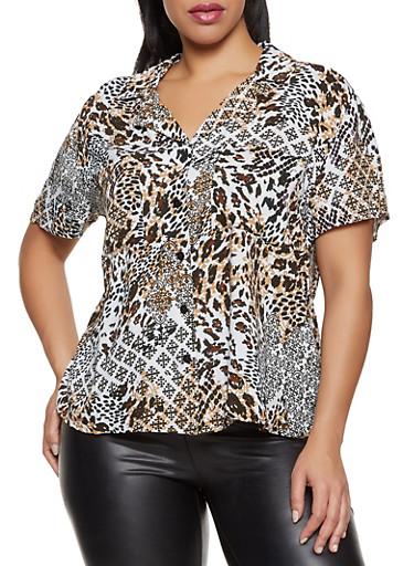 Plus Size Animal Print Button Front Shirt,BLACK,large