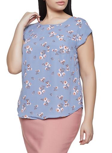 Plus Size Floral Crepe Knit Top,GRAY,large