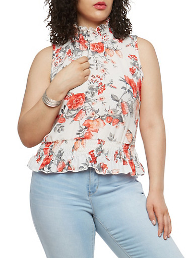 Plus Size Smock Ruffle Floral Top,IVORY,large