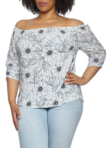 Plus Size Printed Off the Shoulder Top,BLUE,large