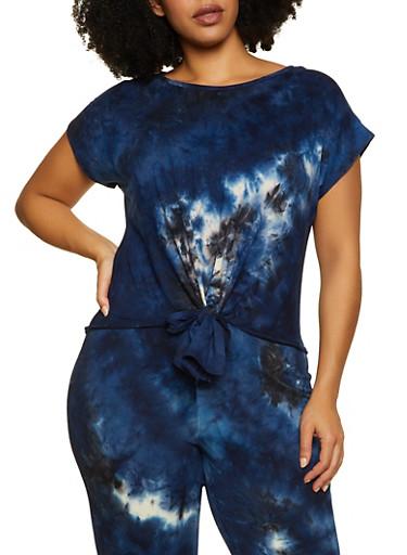 Plus Size Short Sleeve Tie Dye Tee,NAVY,large