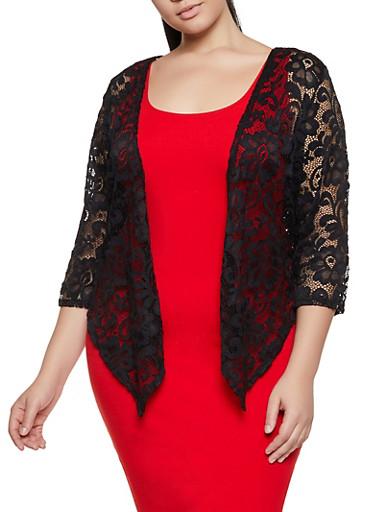 Plus Size Lace Cardigan,BLACK,large
