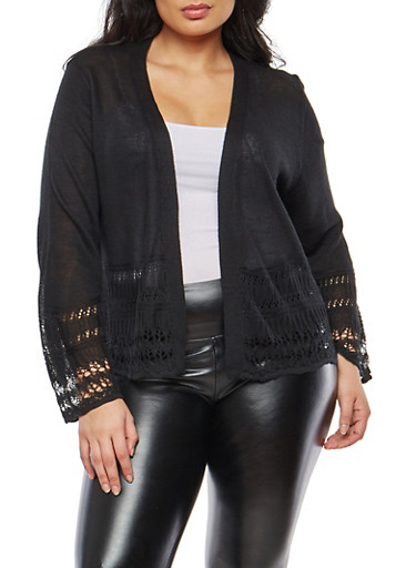 Plus Size Pointelle Knit Cardigan,BLACK,large