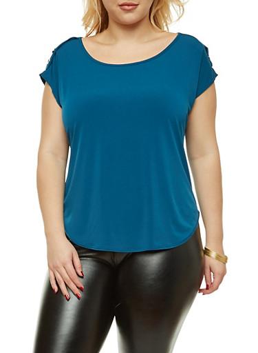Plus Size Short Sleeve Button Shoulder Top,TEAL,large