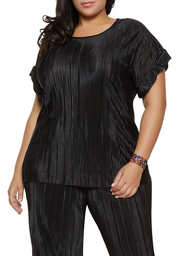 Plus Size Fixed Cuff Pleated Top,BLACK,large