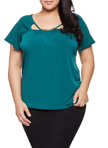 Plus Size Cut Out Top,HUNTER,large