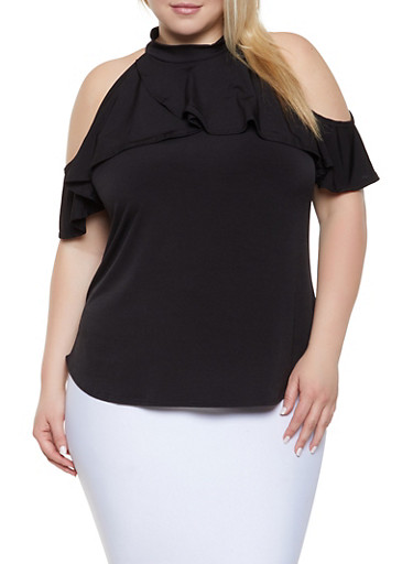 6a2435b0f2b77 Plus Size Ruffled Cold Shoulder Top