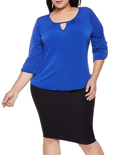 Plus Size Tabbed Sleeve Keyhole Top,RYL BLUE,large