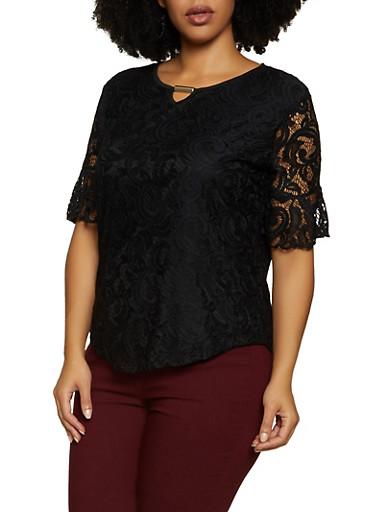 Plus Size Keyhole Lace Top,BLACK,large