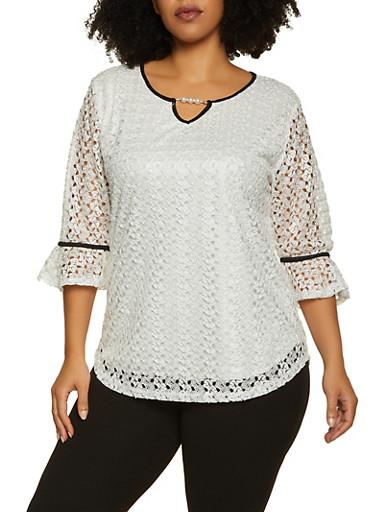 Plus Size Contrast Trim Lace Top,IVORY,large