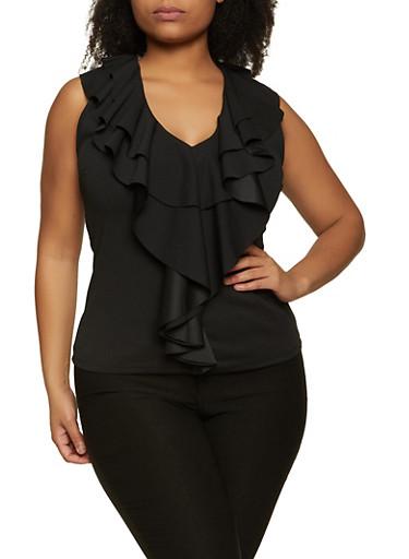 Plus Size Ruffled Crepe Knit Top,BLACK,large