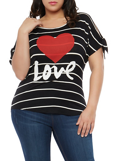 Plus Size Heart Graphic Slit Sleeve Top,BLACK/WHITE,large