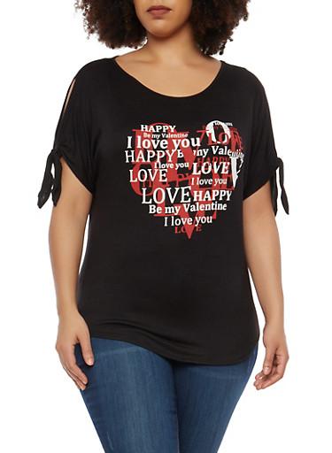 Plus Size Graphic Slit Sleeve T Shirt,BLACK,large