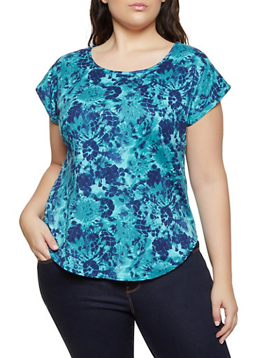 Plus Size Abstract Tie Dye Tee,JADE,large