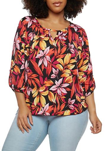 Plus Size Tropical Floral Keyhole Top,BLACK,large