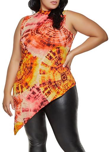 Plus Size Tie Dye Asymmetrical Top,ROSE,large