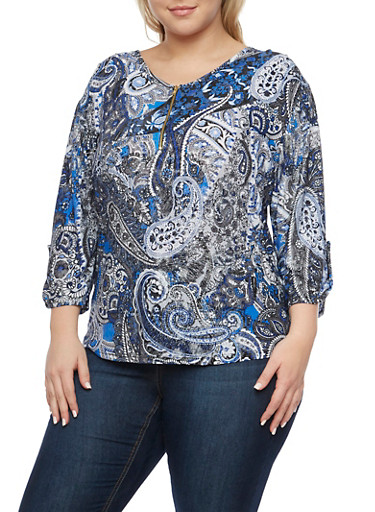 Plus Size Printed Top with Zip Scoop Neck,BLACK,large