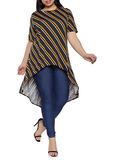 Plus Size Striped High Low Top | 8429020628262,BLACK,large