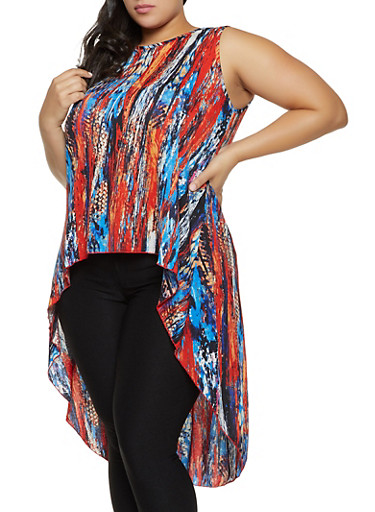 Plus Size Printed High Low Sleeveless Top,RED,large