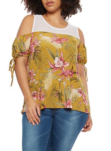 Plus Size Mesh Floral Cold Shoulder Top,GOLD,large