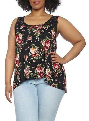 Plus Size Floral Lace Tank Top,BLACK,large