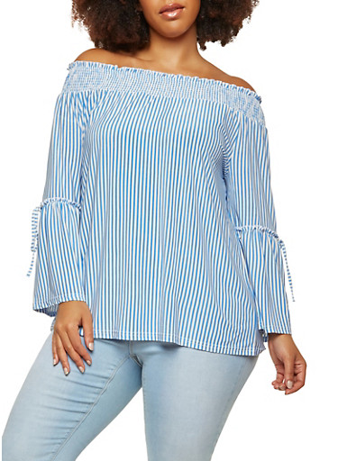 Plus Size Striped Off the Shoulder Bell Sleeve Top,BLUE,large