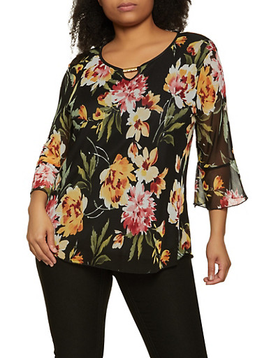 Plus Size Floral Mesh Overlay Top,BLACK,large