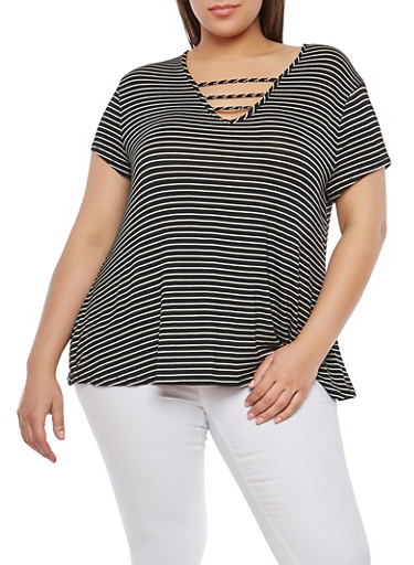 Plus Size Stripe Caged Neck Top,BLACK,large
