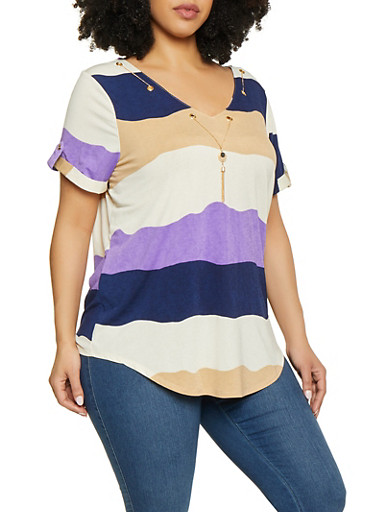 Plus Size Striped Chain Threaded Tee by Rainbow