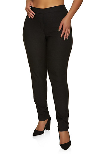 Plus Size Solid Pull On Dress Pants,BLACK,large