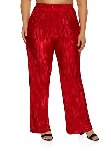 Plus Size Pleated Palazzo Pants | 8441020623492,RED,large